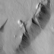The movement pathways of molten rock, or lava, is demonstrated in this image from NASA's Mars Odyssey spacecraft of a portion of Olympus Mons, the largest volcano in our solar system.