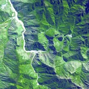 The ruins of Machu Picchu, rediscovered in 1911 by Hiram Bingham, are one of the most beautiful and enigmatic ancient sites in the world. This image was acquired by NASA's Terra satellite on June 25, 2001.