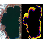 This image acquired by NASA's Terra satellite llustrates the state of gradually decreasing water clarity at Lake Tahoe, one of the clearest lakes in the world.