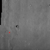 NASA's Viking 1 landing site is shown in this commemorative image from NASA's Mars Odyssey spacecraft to celebrate the July 20, 1969 and 1976 anniversaries of NASA's Apollo 11 and Viking 1 landings on the Moon and Mars, respectively.