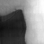 This image from NASA's Mars Odyssey spacecraft shows the region where NASA's Mars Polar Lander was set to land on December 3, 1999. Unfortunately, communications with the spacecraft were lost and never regained.