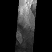 Like many of the craters in the Oxia Palus region of Mars, Trouvelot Crater, shown in this NASA Mars Odyssey image, hosts an eroded, light-toned, sedimentary deposit on its floor.