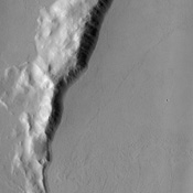 With a location roughly equidistant between two of the largest volcanic constructs on the planet, the fate of the approximately 50 km (31 mile) impact crater in this image from NASA's Mars Odyssey was sealed. It has been buried to the rim by lava flows.