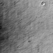 This image from NASA's Mars Odyssey shows a region called Terra Sirenum in Mars' southern hemisphere named for the Sea of the Sirens from Greek Mythology. This is not a sea, however, but a relatively dusty, high albedo region of Mars.