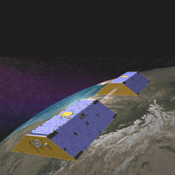 Artist's concept of the Gravity Recovery and Climate Experiment (GRACE) from December 2002.