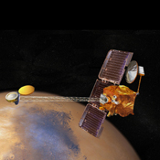 Artist's concept of 2001 Mars Odyssey spacecraft.
