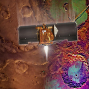 Artist's concept of Mars Odyssey orbit insertion.