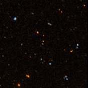 This image was taken May 21 and 22, 2003, by NASA's Galaxy Evolution Explorer. The image was made from data gathered by the two channels of the spacecraft camera during the mission's 'first light' milestone.