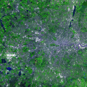 For almost 2,000 years, the River Thames has served as the life force of London, capital of the United Kingdom and one of the world's most famous cities. NASA's Terra satellite acquired this image on October 12, 2001.