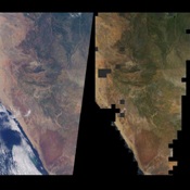 Brightness variations in the terrain along a portion of southwestern Africa are displayed in these views from NASA's Terra spacecraft.