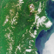 Kamchatka Peninsula, Russia is shown in this MISR Mystery Quiz #15 captured by NASA's Terra spacecraft.