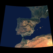 Data from a portion of the imagery acquired by NASA's Terra spacecraft during 2000-2002 were combined to create this cloud-free natural-color mosaic of southwestern Europe and northwestern Morocco and Algeria.
