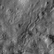 The dust devil streaks observed in this NASA Mars Odyssey image of the Martian northern plains trend over hills, mounds and valleys, giving hints to the dynamic nature in which these streaks are formed.
