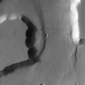 This image from NASA's Mars Odyssey spacecraft shows grooves within channels of Kasei Valles that can be interpreted as evidence for fluvial activity.