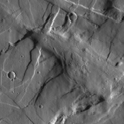 The crosscutting relationships observed in this image from NASA's Mars Odyssey spacecraft can be used to determine the relative timing of graben and channel formations.
