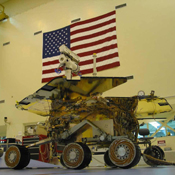 One of two Mars Exploration Rovers sits inside its cruise stage waitingto undergo environmental testing at NASA's Jet PropulsionLaboratory.