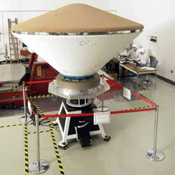 Mars Exploration Rover (MER) spacecraft. This image shows the aeroshell, which includes the backshell as well as the heatshield.