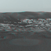 This sweeping look at the unusual rock outcropping near NASA's Mars Exploration Rover Opportunity. 3D glasses are necessary to view this image.