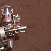 The piece of metal with the American flag on it in this image of a NASA rover on Mars is made of aluminum recovered from the site of the World Trade Center towers in the weeks after their destruction.