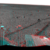 This 3-D cylindrical-perspective mosaic was created from navigation camera images that NASA's Mars Exploration Rover Spirit captured on on sol 121. 3D glasses are necessary to view this image.