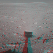 This 3-D cylindrical-perspective mosaic was created from navigation camera images that NASA's Mars Exploration Rover Spirit captured on on sol 122. 3D glasses are necessary to view this image.