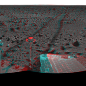 This 3-D cylindrical-perspective mosaic was created from navigation camera images that NASA's Mars Exploration Rover Spirit captured on on sol 127. 3D glasses are necessary to view this image.