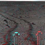 This 360-degree three dimensional anaglyph view from NASA's Mars Exploration Rover Spirit highlights Gusev crater on sol 142. 3D glasses are necessary to view this image.