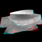 This stereo anaglyph from NASA's Mars Exploration Rover Spirit looks toward the northeast across 'Endurance Crater' in Mars' Meridiani Planum region. 3D glasses are necessary to view this image.