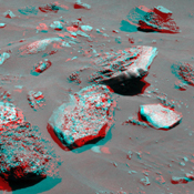This stereo anaglyph from NASA's Mars Exploration Rover Spirit shows rocks solidified from lava. Seen here is a group of boulders informally named 'FuYi.' 3D glasses are necessary to view this image.