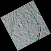 This high-resolution stereo anaglyph captured by NASA's Cassini spacecraft of Saturn's moon Enceladus shows a region of craters softened by time and torn apart by tectonic stresses. 3D glasses are necessary to view this image.