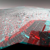 NASA's Mars Exploration Rover Spirit has been making tracks on Mars for seven months now, well beyond its original 90-day mission, when it reached 'Columbia Hills.' 3D glasses are necessary to view this image.