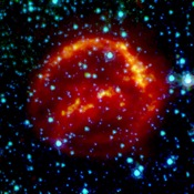 This composite image represent views of Kepler's supernova remnant taken in X-rays, visible light, and infrared radiation.