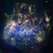This vibrant image from NASA's Spitzer Space Telescope (detected by the multiband imaging photometer) shows the Large Magellanic Cloud, a satellite galaxy to our own Milky Way galaxy.