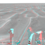 On Feb. 19, 2005, NASA's Mars Exploration Rover Opportunity had completed a drive of 124 meters (407 feet) across the rippled flatland of the Meridiani Planum region. 3-D glasses are necessary to view this image.