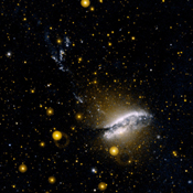 This ultraviolet image from NASA's Galaxy Evolution Explorer is of NGC 5128 (Centaurus-A). This unusual galaxy is believed to be the result of a collision of two normal galaxies.