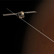 This frame from an animation portrays the unfolding of all three booms making up the antenna for the radar instrument on the European Space Agency's Mars Express orbiter.