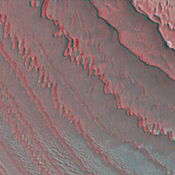 This anaglyph from Mars Global Surveyor (MGS) shows layers in Galle Crater. 3D glasses are necessary to view this image.