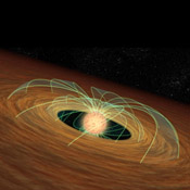 This artist's concept demonstrates how a dusty planet-forming disk can slow down a whirling young star, essentially saving the star from spinning itself to death. Evidence for this phenomenon comes from NASA's Spitzer Space Telescope.