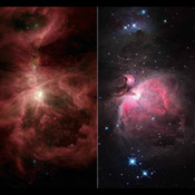 NASA's Spitzer Space Telescope and the National Optical Astronomy Observatory compare infrared and visible views of the famous Orion nebula and its surrounding cloud, an industrious star-making region located near the hunter constellation's sword.