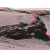This anaglyph from from NASA's Mars Exploration Rover Opportunity is of Victoria crater, looking north from 'Duck Bay' towards the dramatic promontory called 'Cape Verde.' 3D glasses are necessary to view this image.