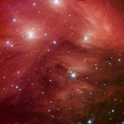 The Seven Sisters, also known as the Pleiades star cluster, seem to float on a bed of feathers in a new infrared image from NASA's Spitzer Space Telescope. Clouds of dust sweep around the stars, swaddling them in a cushiony veil.