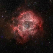 This image from NASA's Spitzer Space Telescope is of the Rosette nebula, a turbulent star-forming region located 5,000 light-years away in the constellation Monoceros.