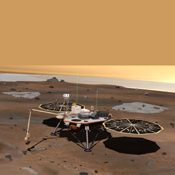 NASA's Phoenix Mars Lander monitors the atmosphere overhead and reaches out to the soil below in this artist's depiction of the spacecraft fully deployed on the surface of Mars.