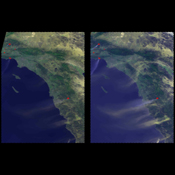 NASA's Terra spacecraft showed hot, dry Santa Ana winds blowing through the Los Angeles and San Diego areas on Sunday October 21, 2007.