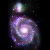 A composite image of M51, also known as the Whirlpool Galaxy, shows the majesty of its structure in a dramatic new way through several of NASA's orbiting observatories