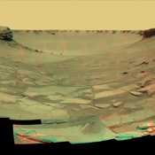 NASA's Mars Exploration Rover Opportunity examined rocks inside an alcove called 'Duck Bay' in the western portion of Victoria Crater. 3D glasses are necessary to view this image.