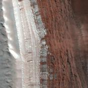 Amazingly, this image has captured at least four Martian avalanches, or debris falls, in action. It was taken on February 19, 2008, by the High Resolution Imaging Science Experiment (HiRISE) camera on NASA's Mars Reconnaissance Orbiter.
