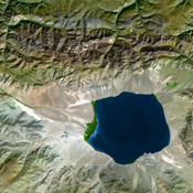 The Uvs Nuur Basin in Mongolia and the Russian Federation is the northernmost of the enclosed basins of Central Asia. It takes its name from Uvs Nuur Lake, a large, shallow and very saline lake. This image is from NASA's Terra satellite.