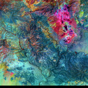 This image from NASA's Terra satellite shows the Morenci open-pit copper mine in southeast Arizona, North America's leading producer of copper.