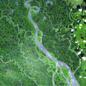 The Mackenzie River in the Northwest Territories, Canada, with its headstreams the Peace and Finley, is the longest river in North America. This image was acquired by NASA's Terra satellite on August 4, 2005.